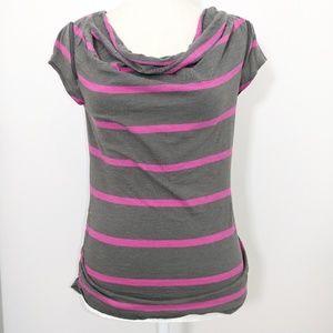 SALE DKNY Jeans grey t- shirt pink stripes XS